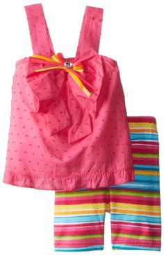 Sweet Heart Rose Baby Girls Dress with Striped Bike Short Set PinkMulti 12 Months -- Click image for more details.