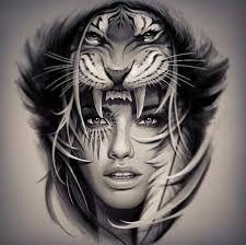 Resultado de imagem para tattoo face girl and lion