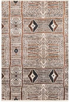 Hand-knotted, tribal-inspired Zambia rug from Surya in charcoal, mocha and beige (ZAM-1000).