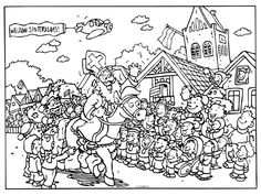Kleurplaat: Sinterklaas Good Company, Coloring Pages, Cute Outfits, School, December, Christmas, Carnival, Visual Arts, Noel