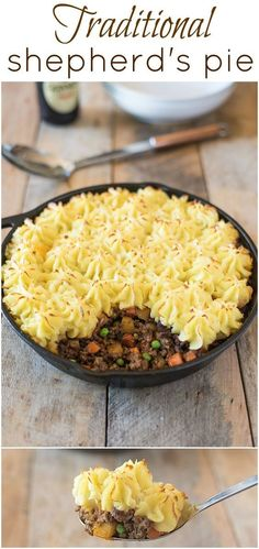 This traditional shepherd's pie is a British comfort food classic loved by all. Ground lamb is cooked with vegetables and Guinness for an extra flavor boost, then topped with fluffy mashed potato and baked.