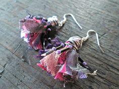Purple Fiber Tassel Earrings  Eco-friendly Earrings  Mauve