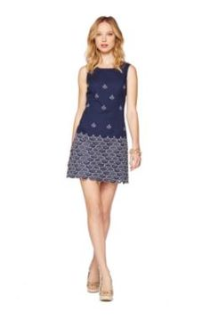 Love this nautical looking Clarita dress in navy!