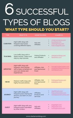 What type of blog should you start? 6 Different Blog Successful Strategies. Blog Type Table