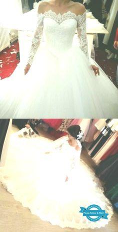 Elegant Off The Shoulder Wedding Dresses Ball Gowns Long Sleeves - Susanne Size 18 Wedding Dress, Elegant Wedding Dress, White Wedding Dresses, Elegant Gowns, Gown Wedding, Ball Dresses, Ball Gowns, Bridal Gowns, Off The Shoulder