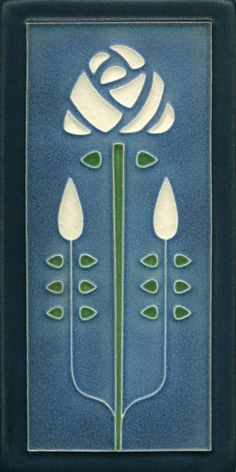 """Long Stem in Denim"" Long Ceramic Tile, Motawi Tileworks / mtw Motifs Art Nouveau, Azulejos Art Nouveau, Motif Art Deco, Art Nouveau Tiles, Art Nouveau Design, Arts And Crafts Movement, Art And Craft Design, Design Art, Ceramic Tile Art"