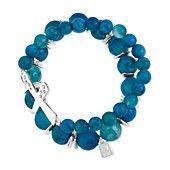 Robert Lee Morris Bracelet Set, Silver-Tone Semi-Precious Blue Bead and Cross Pave Stretch Bracelets