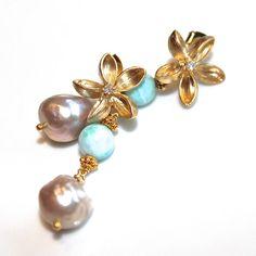 Caribbean Larimar Earrings Baroque Freshwater Pearl by FizzCandy, $75.00