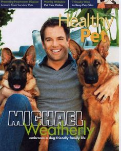 Michael Weatherly, who plays Tony DiNozzo on NCIS, and his two dogs.