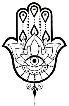 A Hamsa tattoo design I created. Hamsa Hand Tattoo, Tatoo Henna, Hamsa Art, Lotus Tattoo, Hamsa Design, Hamsa Tattoo Design, Tattoo Designs, Tatouage Hamsa, Easy Drawing Tutorial
