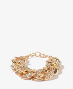 Rhinestoned Curb Chain Bracelet by Forever21