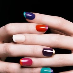 different colored nails with different colored tips.