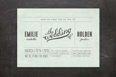"""Mr. Laurence"" - Bold typographic, Modern Save The Date Postcards in Mint by Moglea."