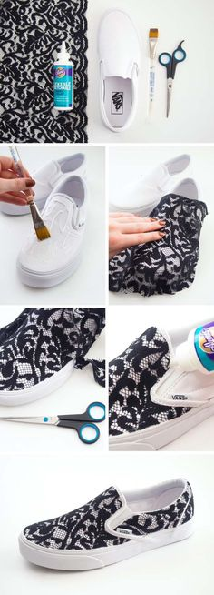 "Cool DIY Fashion Ideas | Fun Do It Yourself Fashion projects | Learn how to refashion and sew jeans, T-shirts, skirts, and more | Lace Slip-on Sneakers | <a href=""http://diyprojectsforteens.com/cool-diy-fashion-ideas/"" rel=""nofollow"" target=""_blank"">diyprojectsfortee...</a>"