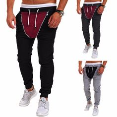 Hombres Pantalones Deportivos de Empalme con Doble Cremallera del Colores Pantalones del Corredor de Gimnasico de Cintura Mediana