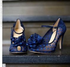 Something Blue...and would match the navy bridesmaid's dresses! Blue Polka Dot Shoes