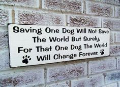 Dog rescue quote sign Saving one dog. dog by deSignsOfExpression Rescue Dog Quotes, Rescue Dogs, Shelter Dogs, Animal Shelter, Animal Rescue, Shelters, Dog Area, Vet Clinics, Animal Science