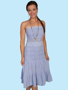 Scully Cowgirl Strapless Dress Powder Blue at Cowgirl Blondie's Dumb Blonde Boutique