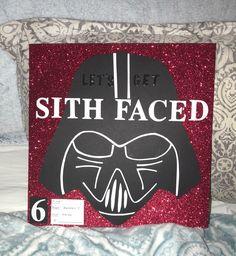 Sith Faced: Shot book page idea 6 Birthday Shots, 21st Birthday, Shot Book Pages, Sith, Starwars, Drink Sleeves, Nerd, Darth Vader, Face