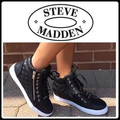 "STEVE MADDEN DECAF QUILTED SNEAKER Do you need some sneakers that show some serious attitude? Man-made vegan leather and feature quilted sides, zipper detailing for easy slip on and off. Silver hardware, faux outside zipper, lace up vamp, padded tongue and cushioned sole. Wear them with an oversize tank and Moto leggings for that streetsmart styling. Measurements; platform eight 1.5"" shaft height 5.5"" fits true to size Steve Madden Shoes Sneakers"