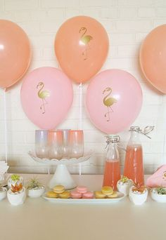 Adorable birthday party balloons. Pineapple and Flamingo party supplies.