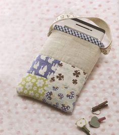 How to make tutorial mobile phone bag case purse fabric sewing quliting quilt patchwork applique cotton linen pdf pattern e patterns