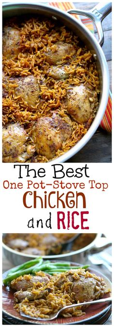 It has taken years to perfect this recipe. This is The Best One Pot-Stove Top Chicken and Rice I have ever tasted. It's so easy to throw together on a weeknight, but has all the flavors you want for the weekend. Easy Chicken Recipes, Turkey Recipes, Easy Recipes, Instant Recipes, Korean Recipes, Chicken Ideas, Mexican Recipes, Healthy Chicken, Italian Recipes
