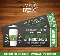Printable Chalkboard Coffee Latte Ticket Birthday Invitation | Inspired Starbucks Party | Frappe Birthday | Sweet 16 | 30th Birthday | DIY Print Your Own | Digital File | FREE thank you card included | Printable Matching Party Package Decorations Available! | Banner | Signs | Labels | Favor Tags | Water Bottle Labels and more! www.dazzleexpressions.com