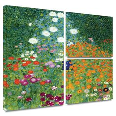 'Farm Garden' by Gustav Klimt Flag 3 Piece Painting Print Gallery-Wrapped on Canvas Set