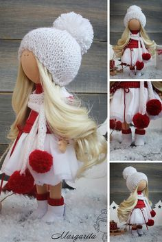 Decor doll handmade white red christmas doll Art doll Home House Gift doll Lady doll Fabric doll