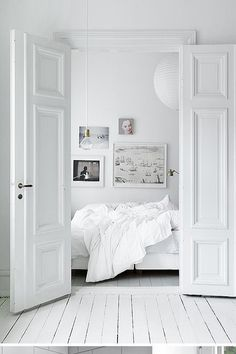 All white interior, #bedroom