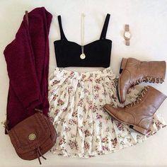 Burgundy cardigan, floral skater skirt, bandeau, boots, purse.
