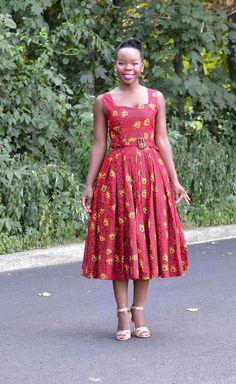 African Ankara 50's Vintage Style Dress- Fall/Autumn Inspired