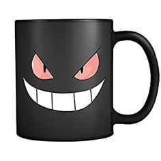 Amazon.com | Evil Gengar Smile Face (black): Coffee Cups & Mugs       * Made with high quality ceramic by the best artisans and masters of the field in order to make the perfect gift for the person you love. * Available in Black and White Ceramic  #mug #coffeeMug #Artcase #ArtcaseCollection #ArtcaseMug #Gengar #pokemon #pokemonMug #GengarMug