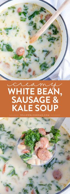 This White Bean, Kale & Sausage Soup is creamy, spicy and all around delicious. It's perfect for warming up during those cold winter months. Bean And Sausage Soup, White Bean Kale Soup, Kale Soup Recipes, Vegetarian Recipes, Soup Beans, Winter Months, Stuffed Whole Chicken, Winter Dinner Recipes, Recipes Dinner