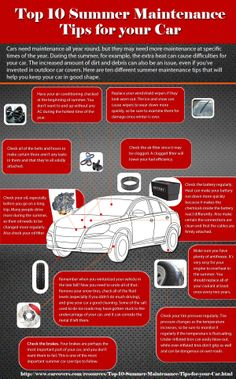 Top 10 Summer Maintenance Tips for your Car #Infographics #Image — Lightscap3s.com