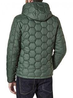 Padded jacket with hexagonal stitch