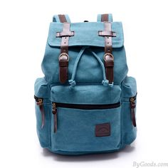 Vintage Navy Blue Belt Decoration Canvas Backpack only $29.99 in ByGoods.com!