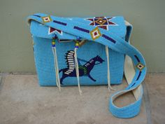 Blue beaded deerskin purse