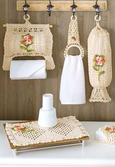 Crochet Kitchen Set: Step-by-step photos and tutorials - Decoration, Architecture, Construction, Furniture and decoration, Home Deco Crochet Towel, Crochet Motif, Crochet Baby, Knit Crochet, Crochet Home Decor, Crochet Crafts, Crochet Projects, Crochet Amigurumi, Crochet Slippers