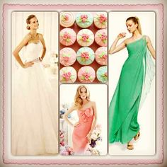 Spring colors! Jim Hjelm Bridesmaid dress, Manuel Mota Bridal Gown. At Brandi's Bridal Galleria in New Glarus, WI