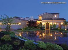 Grand Estate in Lincoln, CA #luxury #homes #house #architecture #driveway #night #estate