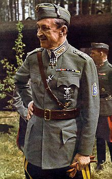 Baron Carl Gustaf Emil Mannerheim (4 June 1867 – 27 January 1951) was the military leader of the Whites in the Finnish Civil War, Commander-in-Chief of Finland's Defence Forces during World War II, Marshal of Finland, and a Finnish statesman. He was Regent of Finland (1918–1919) and the sixth President of Finland (1944–1946).