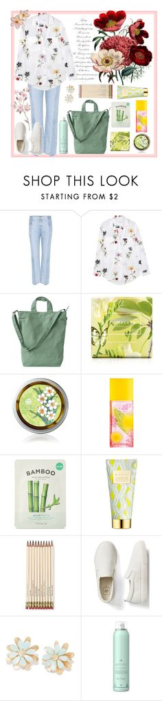 """""""Timeless floral chic"""" by natalyapril1976 ❤ liked on Polyvore featuring AG Adriano Goldschmied, Equipment, BAGGU, Jo Malone, Elizabeth Arden, Forever 21, AERIN, Kate Spade, Gap and Drybar"""