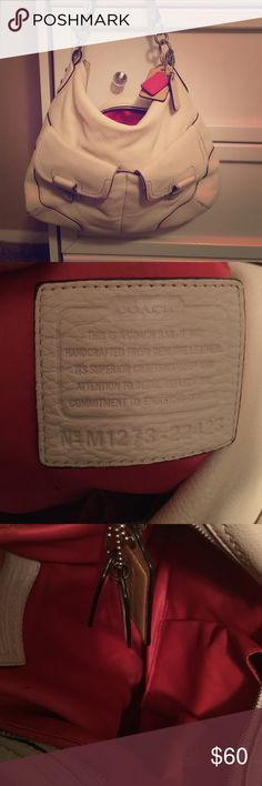 Coach Leather White under the arm purse. White leather with red interior. It's clean and used but still looks great for the price!  Coach Bags Shoulder Bags
