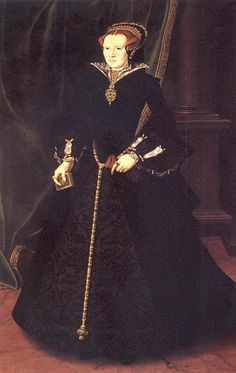 1555 Mary Dudley, Lady Sidney (?) by Hans Eworth (Petworth House, West Sussex UK)  Her dress is strongly reminiscent of Queen Mary I with the lower sleeves puffed out. The under-skirt has an intricate vegetation design. Her hairstyle is worth noting, as well as the placement of her French Hood.