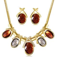 Fashion Vintage Silver Gold Chain Imitated Gemstone Jewelry abc Colar Necklaces Pendants Earrings Statement Necklace Women
