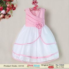 Fashionable Pink Polyster Baby Dress - Designer Princess Party Dresses, Children Wedding Dress With Flower by #pinkblueindia