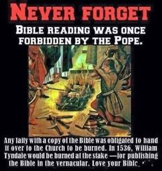 Why Was Bible Reading Forbidden By The Pope? - Topics - The World News Media Bible Teachings, Bible Scriptures, Catholic Bible, Bible College, The Knowing, Black History Facts, Bible Knowledge, Bible Truth, Thing 1