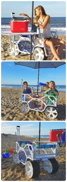 Sport Wagon - beach cart with table and built-in seating. #beachcart